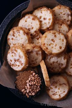 Toffee Bourbon Icebox Cookies - easy slice and bake cookies with toffee bits and rimmed with sugar!