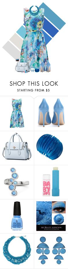 """""""Blue Bloom"""" by lghockey ❤ liked on Polyvore featuring Wallis, Gianvito Rossi, Kenneth Jay Lane, Gemvara, Maybelline, NOVICA and Annie Costello Brown"""