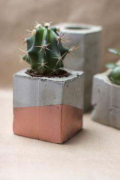 diy concrete and copper plant pots