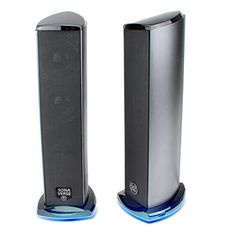 cool GOgroove 2.0 USB Computer Speakers System with Dual Drivers & Blue LED Glow Lights - Works with Alienware , ASUS , MSI Gaming Desktop Computers & More