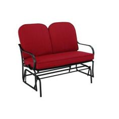 Hampton Bay Fall River Patio Double Glider with Dragon Fruit Cushion-DY11034-G-R at The Home Depot