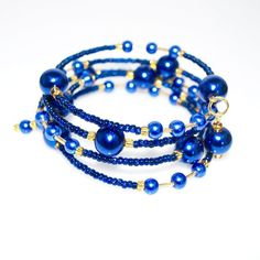 Elegant Blue Glass Pearls / Sapphire And Gold Ascent Wrap Around Bracelets - TeresaCollections - 2