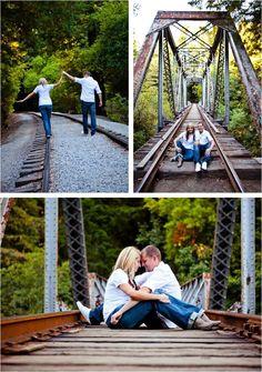 summer family photo shoot ideas | woodsy camping railroad tracks bridge engagement photos the goodness ...