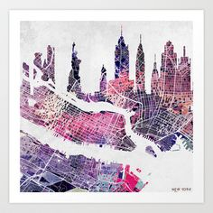 New York Skyline + Map Art Print by Map Map Maps - $18.00