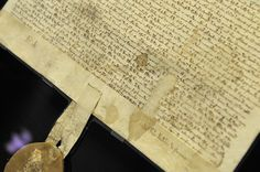 A 1297 version of the Magna Carta, on display at the U.S. National Archives. (Credit: Chris Maddaloni/CQ Roll Call)