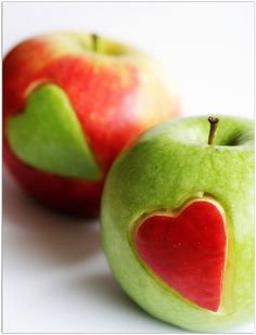 Switched Apple Hearts. #valentine - because my husband and I hold each other's hearts! So cute :)