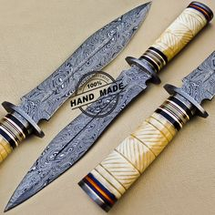 Fish Damascus Dagger Knife Custom Handmade Damascus Steel Hunting Knife 1087