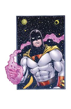 Space Ghost by Joe Martino. Limited print available to but at. 60s Cartoons, Cool Cartoons, Cartoon Fun, Harvey Birdman, Aqua Teen Hunger Force, Space Ghost, Comic Book Heroes, Comic Books, Saturday Morning Cartoons
