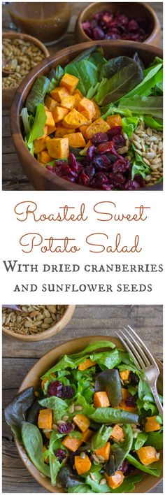 Roasted Sweet Potato Salad with dried cranberries, sunflower seeds and Kraft Balsamic Vinaigrette.