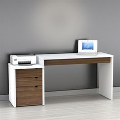 Nexera Liber-t Computer Desk With Filing Cabinet - White And Espresso