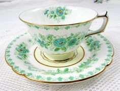 Royal Crown Derby Derby Dale Green and Blue Flower by TheAcreage