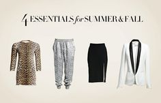 4 essentials for Summer & Fall Fashion: Leopard Print Dress, Drawstring Pant, Pencil Skirt, & Tuxedo Jacket