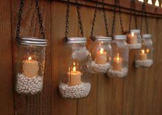 Botellas o tarros con velas  #bodas #casamientos