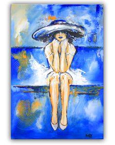 Abserviert - Wandbild Frau mit Hut handgemalt. Moderne Kunst Malerei - Unikat www.burgstallers-art.de/online-shop