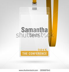 White conference badge with name tag placeholder. Blank badge ...