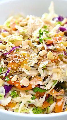 Slaw Recipes, Healthy Salad Recipes, Raw Food Recipes, Vegetable Recipes, Vegetarian Recipes, Cooking Recipes, Asian Slaw, Dinner Salads, Asian Cooking