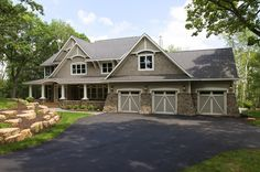 I love everything about this house ... the porch; the setting; the three-car garage. Found on Houzz. Sign Up