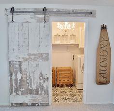 laundry room barn doors- cute idea! ・・・ @vintageporch