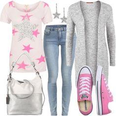 Freizeit Outfits bei FrauenOutfits.de #sterne #sternenshirt # converse #pink #fashionblogger