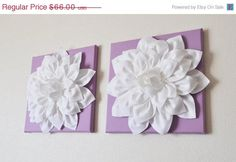 Purple canvas, white and teal/ mint chevron flower