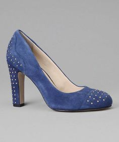 Anne Klein Qadira suede pumps in cornflower blue with gold stud detail.  Very pinup girl, and very comfortable!