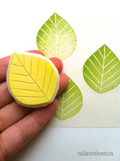 hand carved rubber stamp by talktothesun. woodland + botanical plant theme stamp series for your diy crafts. Clay Stamps, Leaf Silhouette, Stamp Carving, Fabric Stamping, Handmade Stamps, Form Design, Autumn Crafts, Diy Weihnachten, Tampons