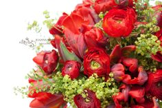 Bridesmaids' Bouquets made of red tulips and white rununulas accompanied by lime green alchemilla. Red wedding theme.
