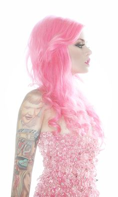 Kelly Eden A lovely pink haired beauty with sparky pink dress and pink lipstick