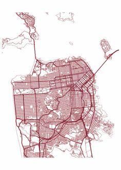 San Francisco Map Print / Street Map Drawing - Custom San Francisco Map, Various Sizes & Colors, Map Art Print Poster