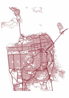 San Francisco Map Print / Street Map Drawing - Custom San Francisco Map, Various Sizes & Colors, Map Art Print Poster