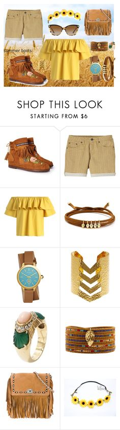 """SUMMERY BOOTS"" by adventuure ❤ liked on Polyvore featuring Nasty Gal, prAna, Chicwish, Jules Smith, Tory Burch, Argento Vivo, Cartier, Chan Luu, Coach and Versace"