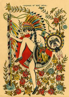 sun dance by bert grimm Flash Art Tattoos, Old Tattoos, Vintage Tattoos, Arabic Tattoos, Sleeve Tattoos, Sailor Jerry Tattoo Flash, Sailor Tattoos, Bert Grimm, Indian Girl Tattoos
