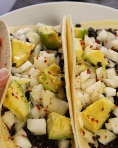 Hummus & Black Lentil Tacos with Kohlrabi Salad