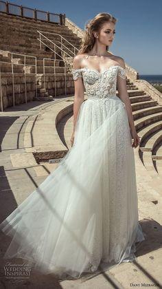dany mizrachi 2018 bridal off shoulder sweetheart neckline full embellishment tulle skirt elegant romantic a  line wedding dress lace back short train (1) mv -- Dany Mizrachi 2018 Wedding Dresses