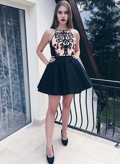 Cute black short prom dress, homecoming dress
