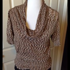 Variegated Brown and Black Sweater Can be worn as cowl neck or off the shoulder. Apt. 9 Sweaters Cowl & Turtlenecks