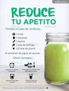 Jugo verde para reducir el apetito (hábitos.mx).