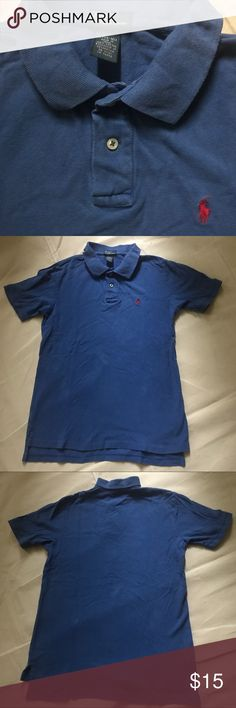 """Polo byRalphLauren royal w/red short sleeve L14-16 Polo byRalphLauren royal blue w/red logo short sleeve collared polo. Size L14-16. Chest 16.5"""" Length 25"""". Good used condition- no holes, etc. Great for collared shirt school dress code. Smoke Free Home 🏡 Polo by Ralph Lauren Shirts & Tops Polos"""