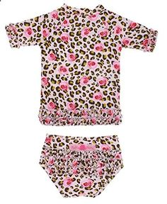 RuffleButts Infant Toddler Girls Wild Child Ruffled Rash Guard Bikini Candy Pink Tan 3-6m. Check the website for more description about the product.