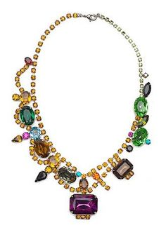 Statement necklace with large rhinestones