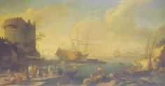 A Mediterranean harbor scene with sailors and other figures on the docks, near a ruined fortress