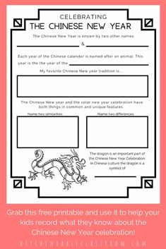 Learning about the Chinese New Year-Free Printable Resources - The Kitchen Table Classroom