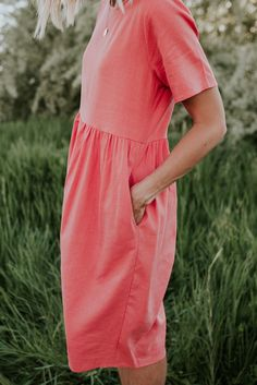 Coral Pink Midi Dress | ROOLEE