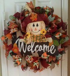 Fall Wreath Scarecrow Wreath by TLCcreationsbyTarsha on Etsy Thanksgiving Wreaths, Fall Wreaths, Christmas Wreaths, Fall Yard Decor, Scarecrow Wreath, Scarecrows, Door Hangers, Halloween, Holiday Decor