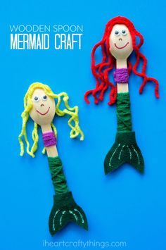 Wooden Crafts If you have mermaid fans at your house, they are going to love this cute wooden spoon mermaid craft. The little mermaids make great puppets for imaginative play and the yarn wrapping is great for strengthening fine motor muscles. Kids Crafts, Mouse Crafts, Summer Crafts, Craft Stick Crafts, Preschool Crafts, Arts And Crafts, Summer Fun, Beach Crafts For Kids, Craft Art