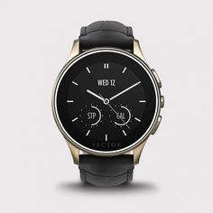 Vector Watch Luna - Şampanya Çelik Kasa ve Siyah Kroko Deri Kordon Akıllı Kol Saati