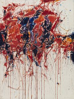 Sam Francis / Untitled / ca. 1958 / Watercolor on paper, mounted on canvas. American artist Francis was initially influenced by the work of abstract expressionists such as Mark Rothko, Arshile Gorky and Clyfford Still. He later became loosely associated with a second generation of abstract expressionists, including Joan Mitchell and Helen Frankenthaler, who were increasingly interested in the expressive use of color.