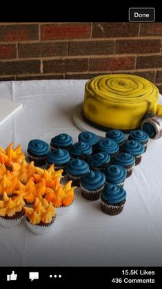 Firefighter cake and cupcakes