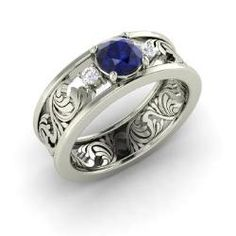 Rings - Feast - Sapphire Ring in 14k White Gold with SI Diamond (0.86 ct.tw.)