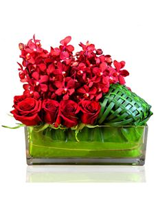 Singapore Flowers: Red Roses and Orchids Vase! Orchid Vase, Orchids, Flowers Singapore, Online Florist, Order Flowers Online, Mothers Day Flowers, Flower Delivery, Amazing Flowers, Red Roses